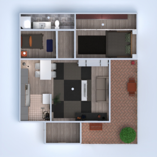floorplans appartement meubles salle de bains chambre à coucher cuisine eclairage rénovation maison espace de rangement 3d