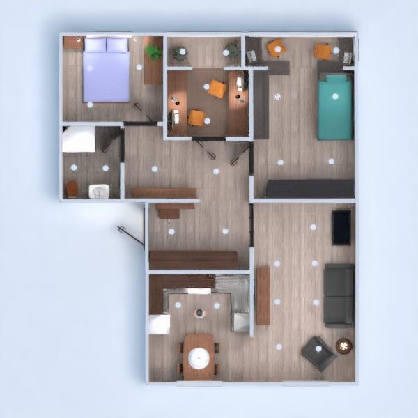 floorplans butas baldai dekoras vonia miegamasis svetainė virtuvė vaikų kambarys 3d