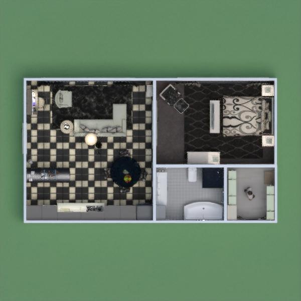 floorplans appartement décoration salle de bains chambre à coucher cuisine 3d