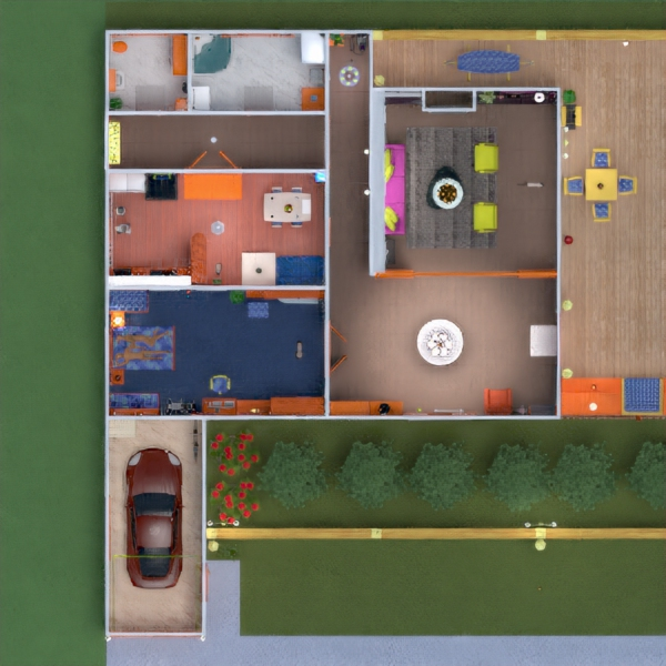 floorplans house terrace furniture garage outdoor lighting household 3d