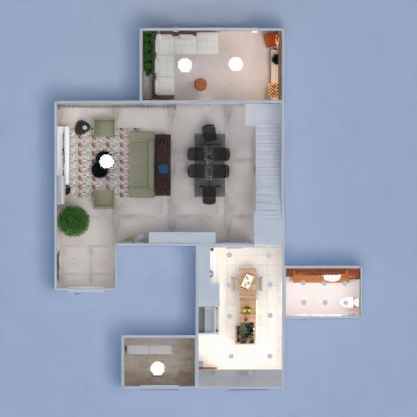 floorplans apartamento varanda inferior decoração dormitório cozinha iluminação utensílios domésticos sala de jantar arquitetura 3d