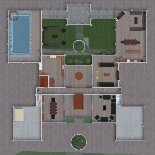 floorplans casa salón cocina exterior paisaje 3d