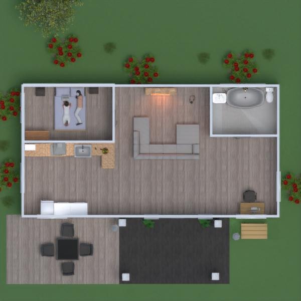 floorplans mieszkanie dom kuchnia na zewnątrz oświetlenie 3d