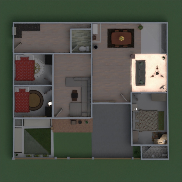 floorplans apartamento casa terraza muebles decoración 3d