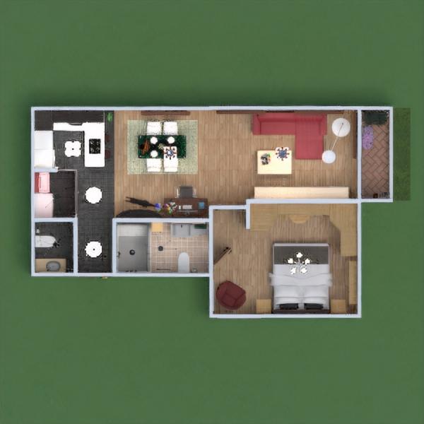 floorplans apartamento cuarto de baño dormitorio salón cocina 3d