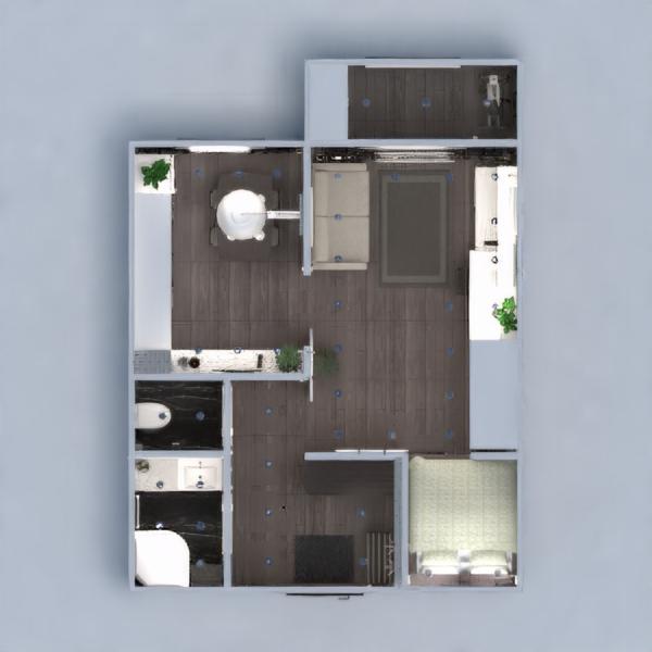 floorplans butas baldai dekoras vonia miegamasis svetainė virtuvė biuras apšvietimas renovacija sandėliukas studija prieškambaris 3d