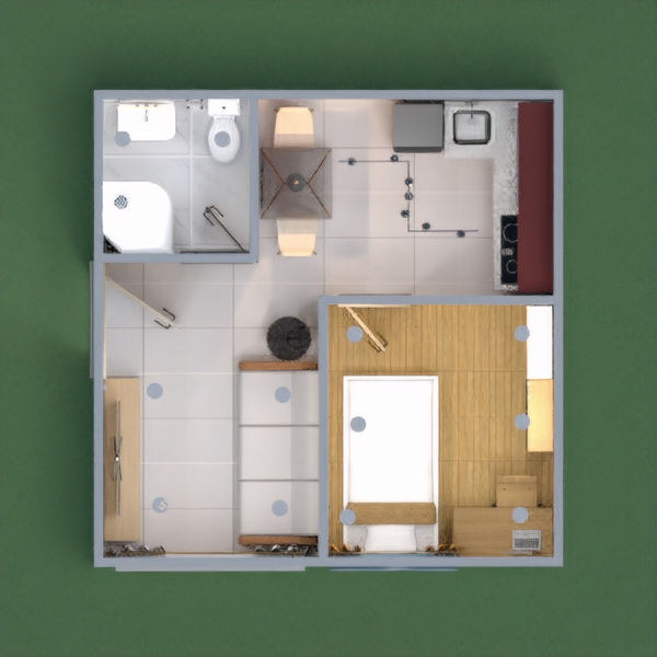 floorplans apartamento cuarto de baño salón cocina iluminación 3d