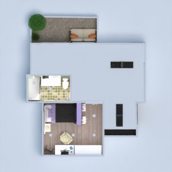 floorplans apartment terrace furniture decor bedroom living room kitchen lighting storage studio 3d