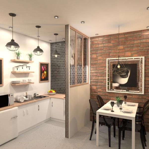 floorplans apartamento dormitorio salón cocina 3d