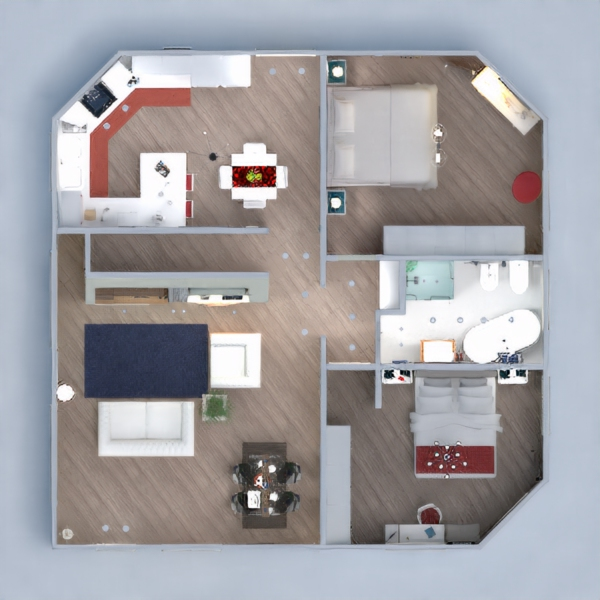 floorplans mieszkanie dom meble łazienka oświetlenie 3d
