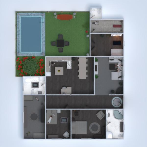 floorplans casa camera da letto saggiorno cucina paesaggio 3d