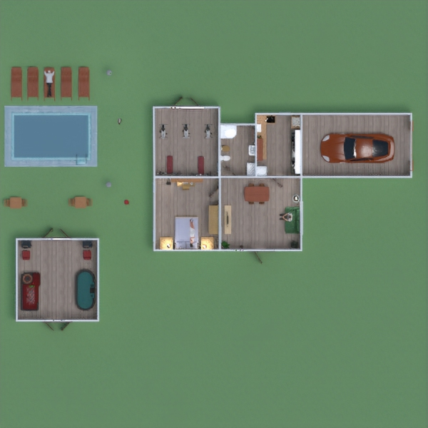 floorplans house garage kitchen outdoor kids room 3d