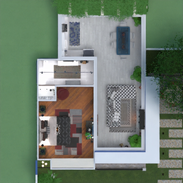 floorplans namas miegamasis virtuvė eksterjeras renovacija 3d