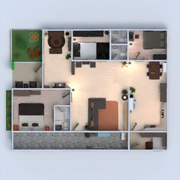 floorplans house terrace furniture renovation 3d
