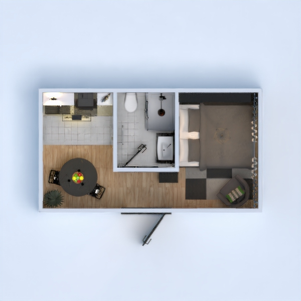 floorplans apartment bathroom bedroom kitchen studio 3d
