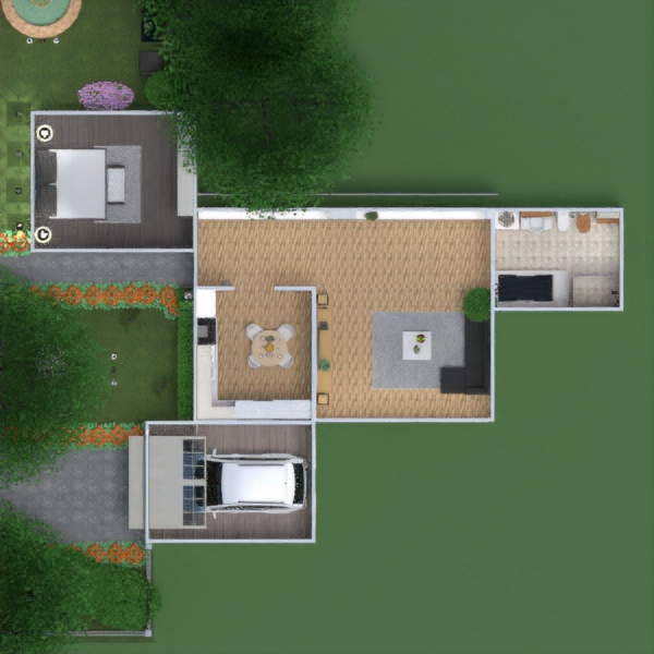 floorplans apartment house furniture bathroom bedroom living room garage kitchen outdoor lighting 3d