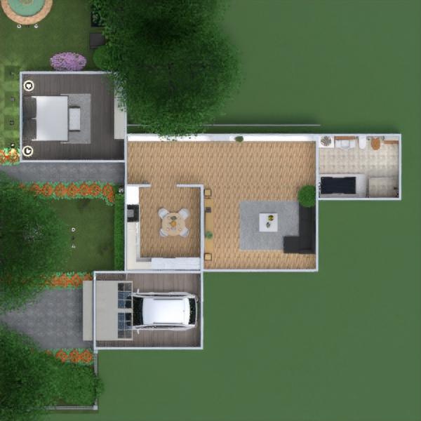 floorplans mieszkanie dom meble łazienka sypialnia pokój dzienny garaż kuchnia na zewnątrz oświetlenie 3d