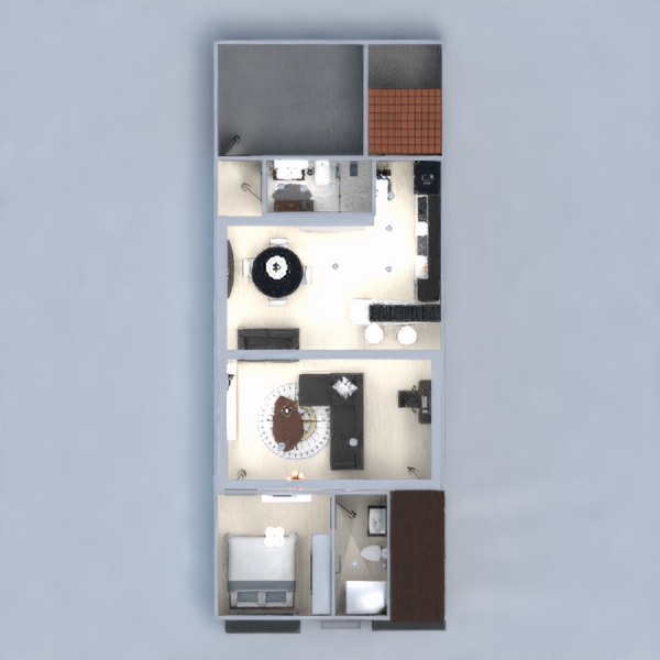 floorplans appartement maison salon cuisine 3d