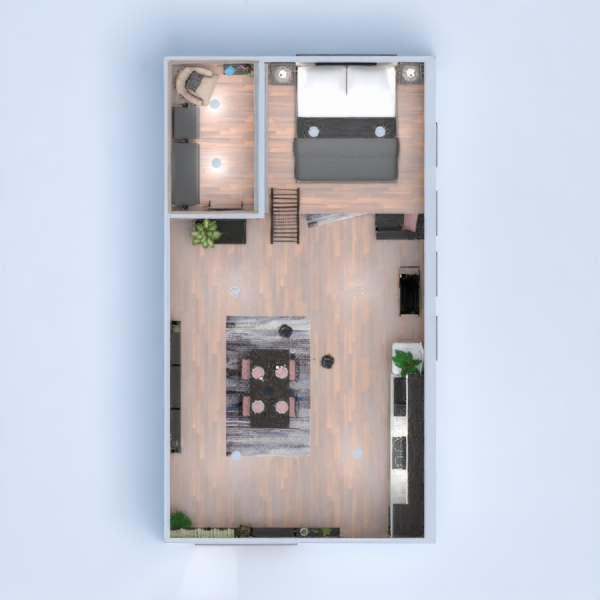 floorplans appartement décoration salon cuisine 3d