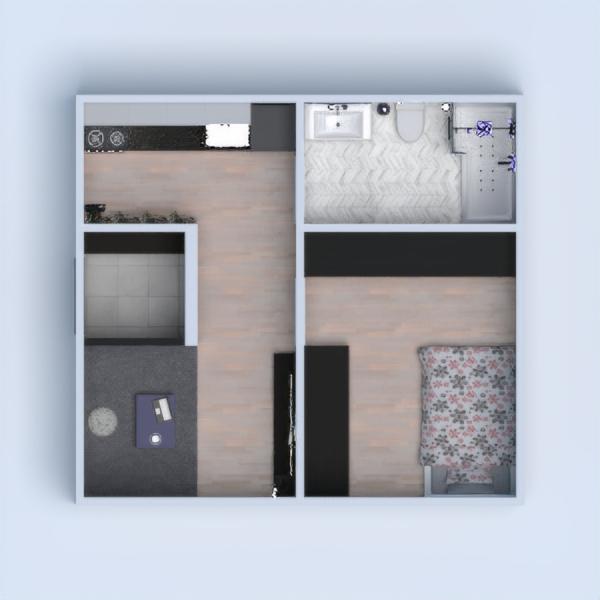 floorplans apartamento dormitório cozinha 3d