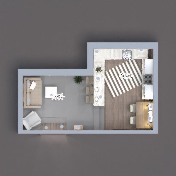 floorplans meble wystrój wnętrz pokój dzienny kuchnia oświetlenie 3d