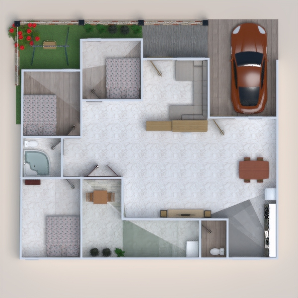floorplans casa bricolaje dormitorio garaje cocina 3d