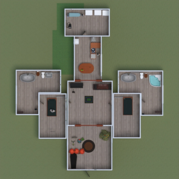 floorplans apartment house terrace bedroom garage 3d