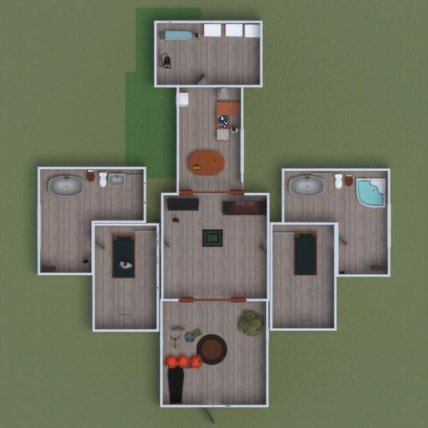 floorplans appartamento casa veranda camera da letto garage 3d