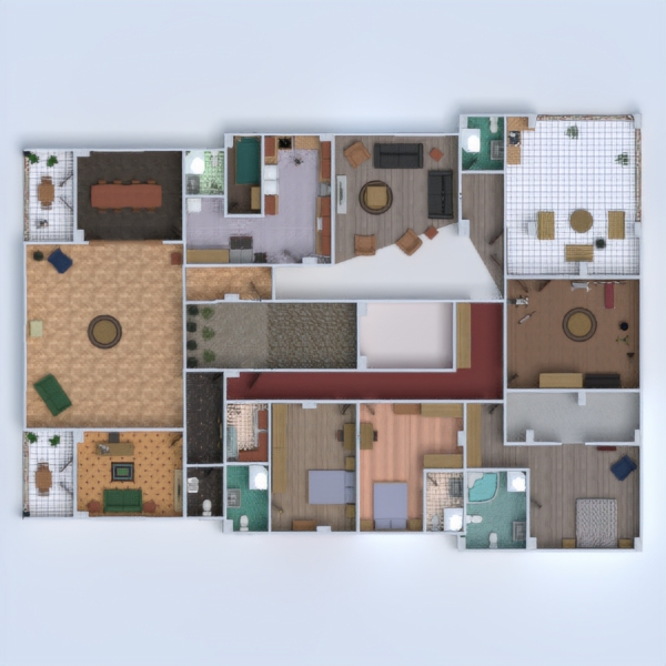 floorplans apartment house terrace furniture bathroom bedroom living room kitchen kids room office dining room storage entryway 3d