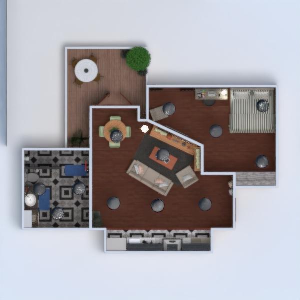 floorplans apartamento varanda inferior mobílias casa de banho dormitório quarto cozinha sala de jantar arquitetura despensa 3d