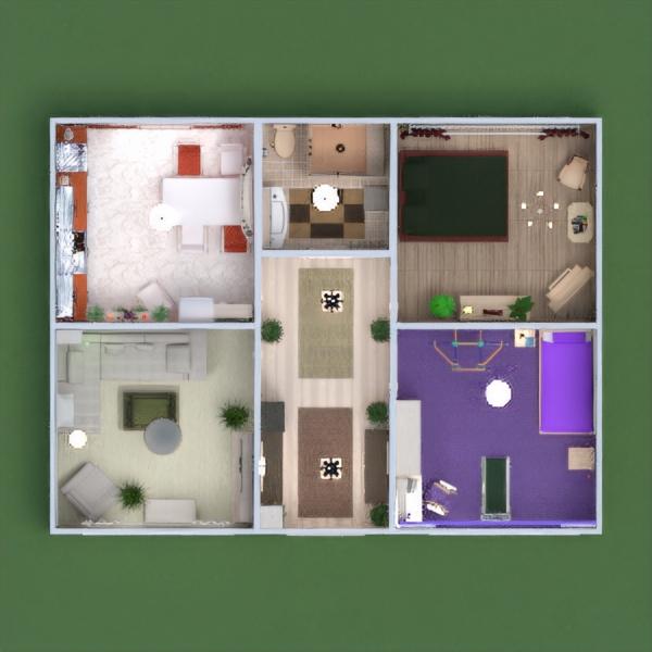 floorplans appartement meubles décoration diy salle de bains chambre à coucher salon cuisine chambre d'enfant eclairage maison espace de rangement entrée 3d