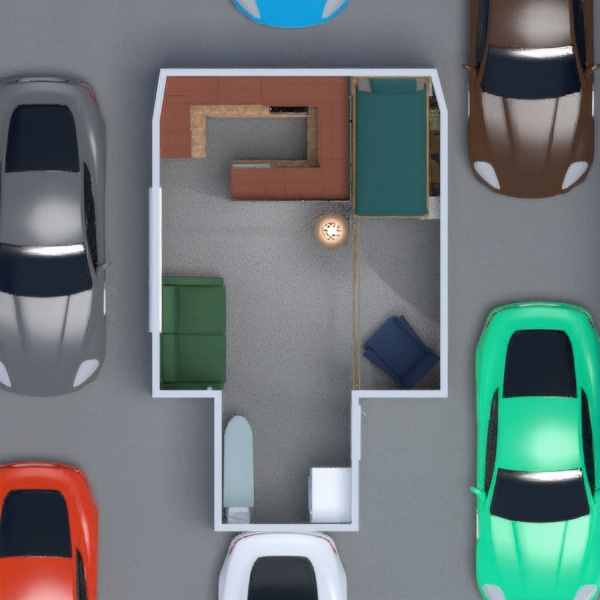 floorplans namas miegamasis svetainė virtuvė sandėliukas 3d