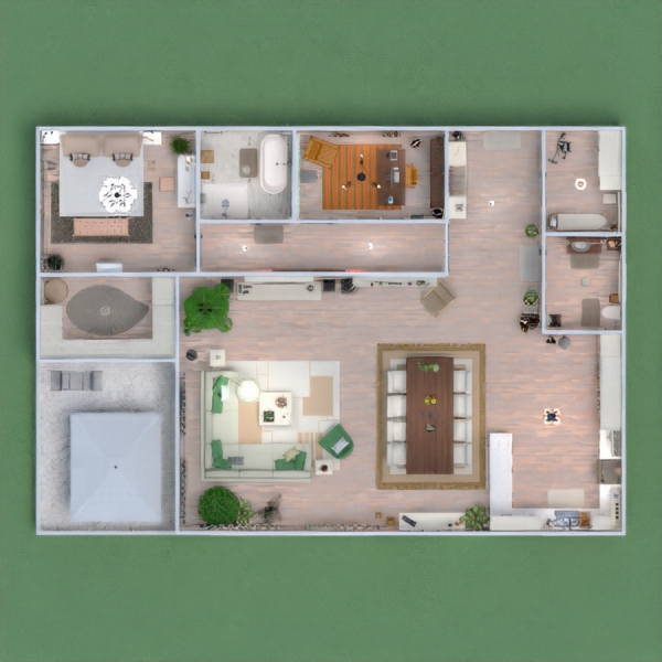 floorplans apartment house terrace furniture decor 3d