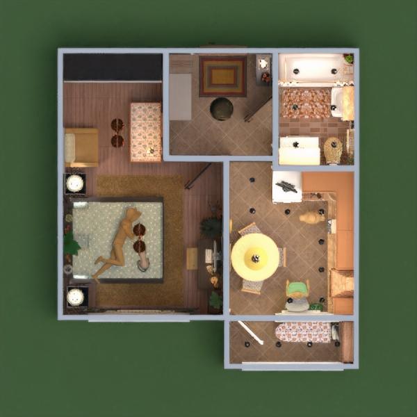 floorplans apartamento cuarto de baño dormitorio cocina descansillo 3d