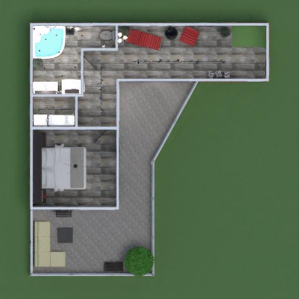 floorplans namas terasa baldai dekoras vonia miegamasis svetainė virtuvė eksterjeras apšvietimas kraštovaizdis valgomasis prieškambaris 3d