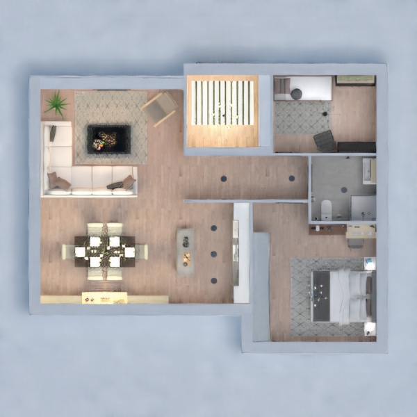 floorplans apartment house bedroom living room dining room 3d