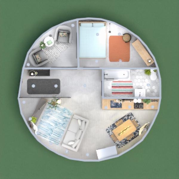 floorplans mieszkanie łazienka sypialnia pokój dzienny jadalnia 3d