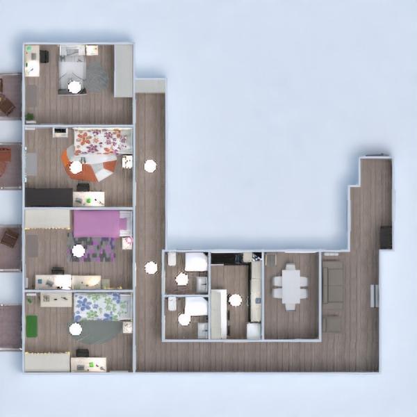 floorplans appartement meubles salle de bains chambre à coucher cuisine 3d