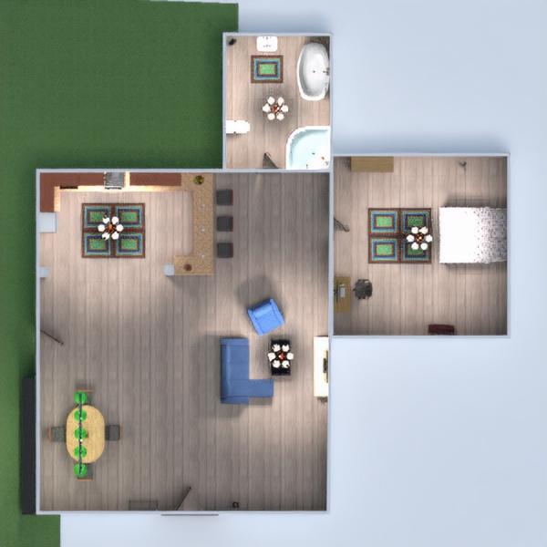 floorplans chambre à coucher salon cuisine salle à manger 3d