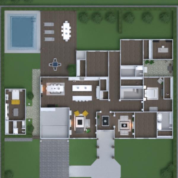 планировки дом мебель декор гостиная кухня улица ландшафтный дизайн техника для дома столовая 3d