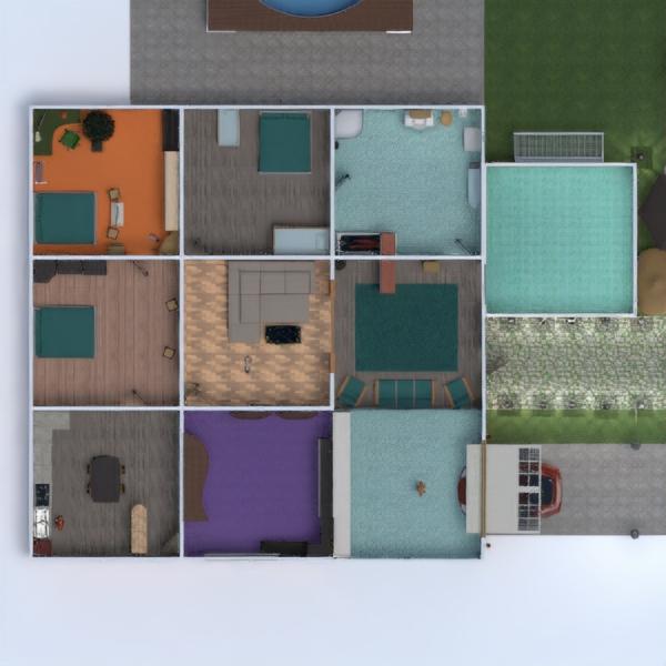 floorplans casa varanda inferior mobílias casa de banho dormitório quarto garagem cozinha área externa quarto infantil 3d
