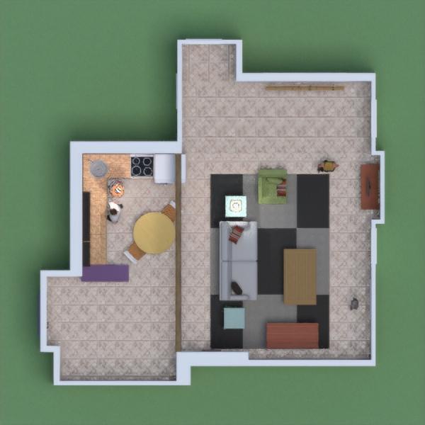floorplans butas terasa baldai studija 3d