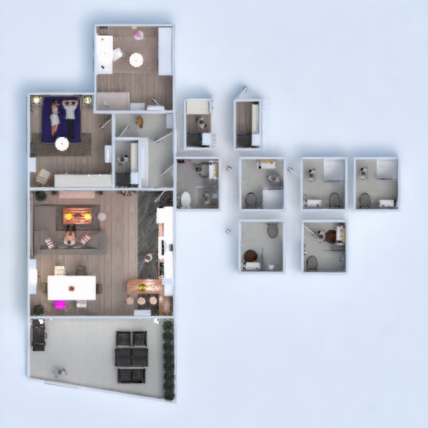 floorplans apartment furniture living room kitchen lighting 3d