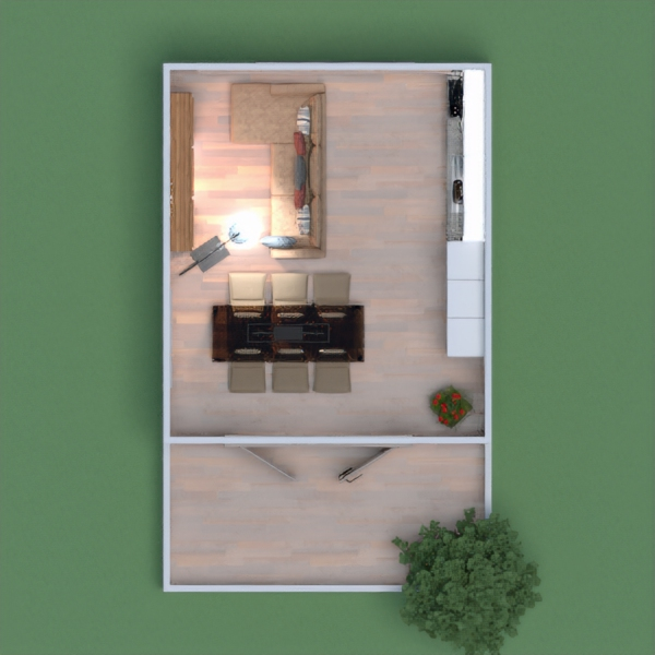 floorplans apartment living room kitchen dining room 3d