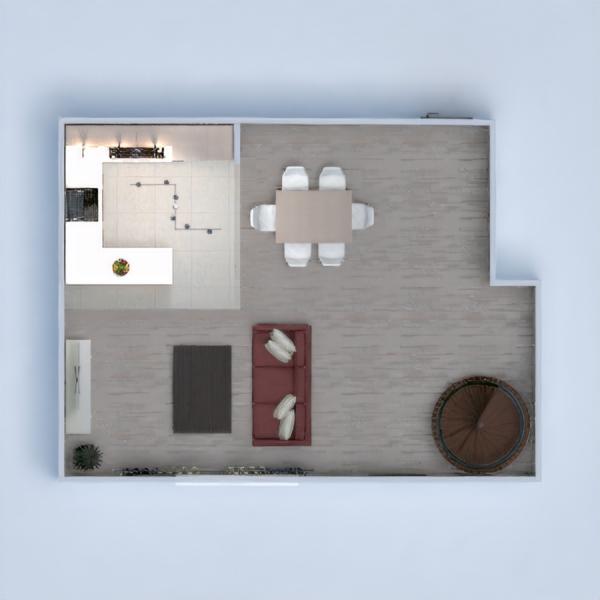 floorplans vonia miegamasis svetainė virtuvė valgomasis 3d