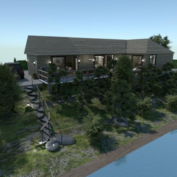 floorplans namas terasa vonia svetainė kraštovaizdis 3d