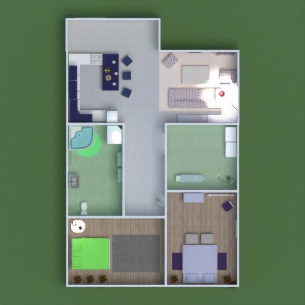 floorplans butas namas baldai vonia miegamasis svetainė virtuvė vaikų kambarys namų apyvoka valgomasis prieškambaris 3d