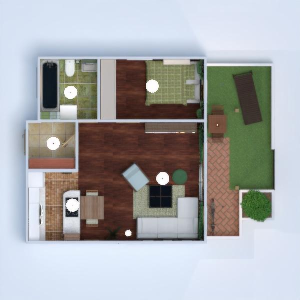 floorplans butas terasa baldai dekoras vonia miegamasis svetainė virtuvė apšvietimas valgomasis 3d