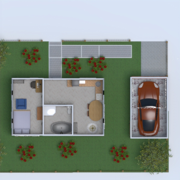 floorplans wohnung schlafzimmer garage küche outdoor 3d