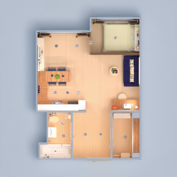 floorplans apartamento muebles decoración bricolaje cuarto de baño dormitorio salón cocina iluminación comedor trastero estudio descansillo 3d